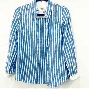 J. Crew Boy Shirt Linen Blue Stripe Button Front